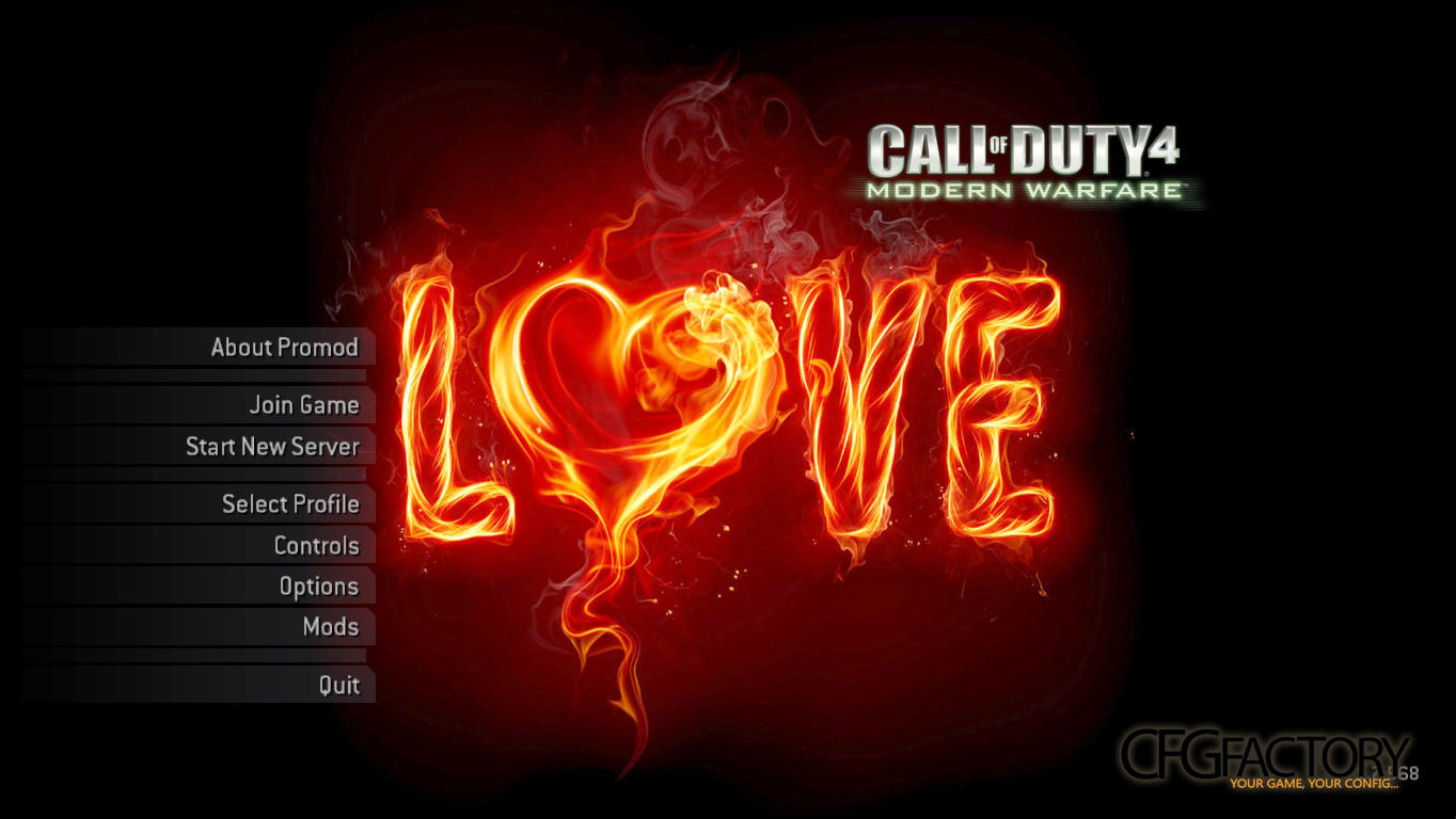 cod4, menu backgrounds, love on fire - bg, nutro