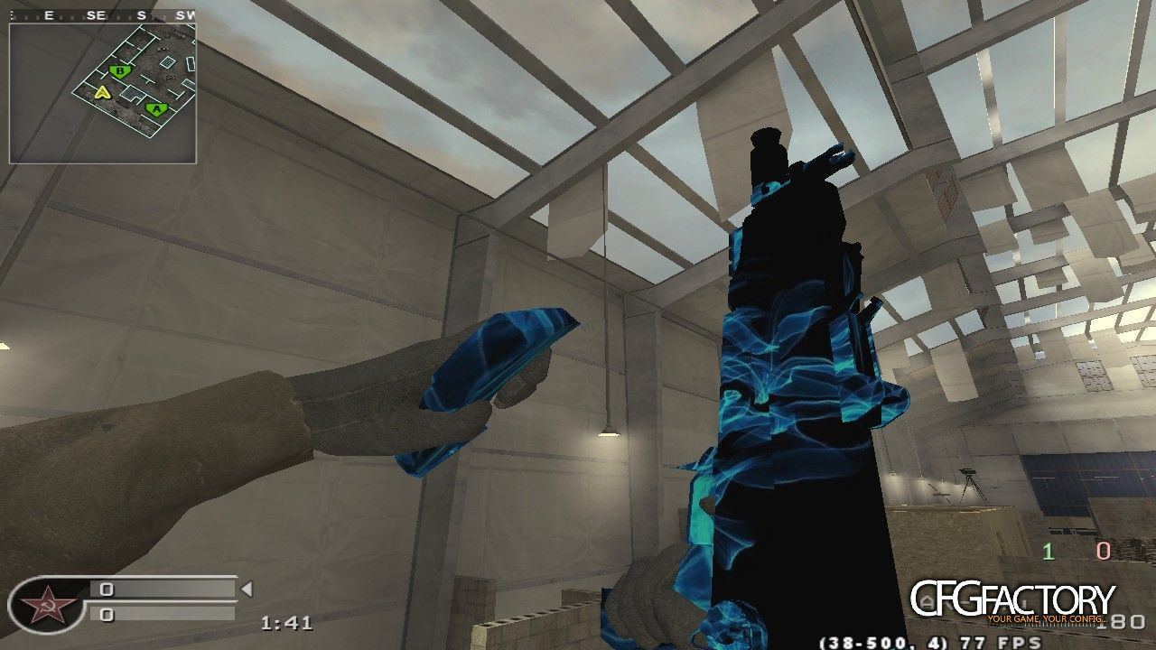 cod4, ak-74u, blue lighting effect, circuit